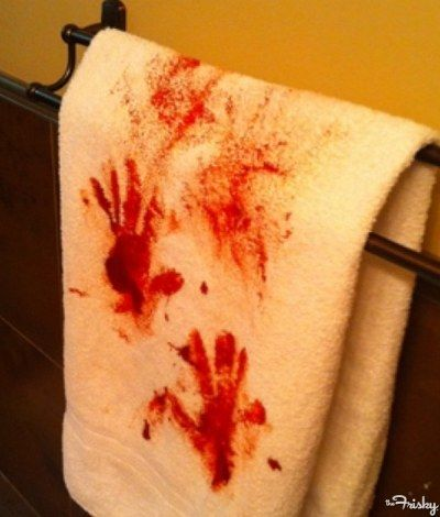 Halloween DIY towel with Red hand stains