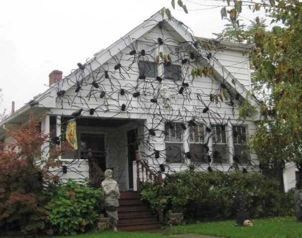 spider web on house for hallowen in Canada