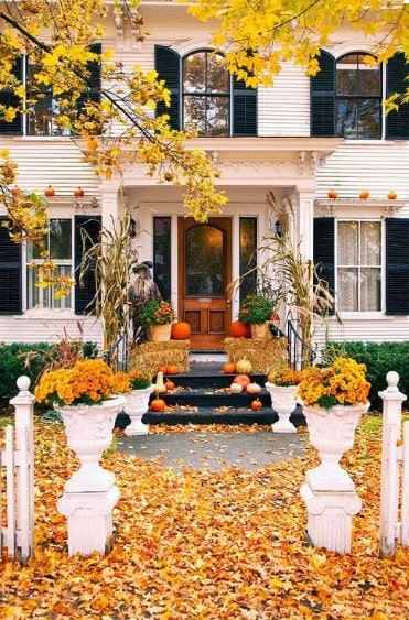 Maple leaves and pumpkin to decorate doorway in Canada for Halloween