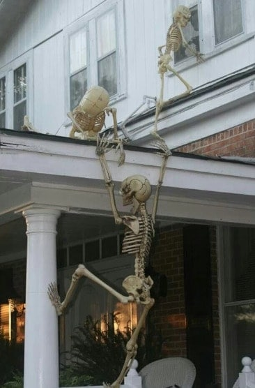 Skeleton decorations for Halloween houses in Canada
