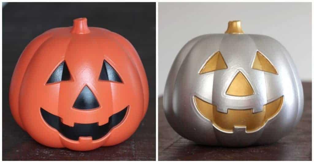 Halloween DIY metallic Jack o lantern