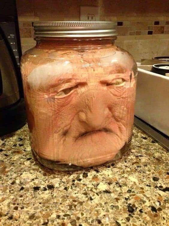 Halloween DIY head in a jar