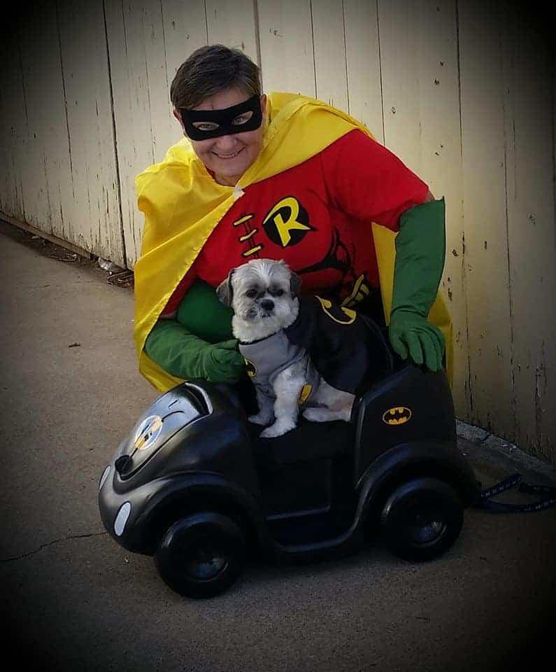 Batman and Robin Dog and dog owner